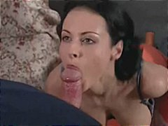 Brunette Hungarian girl blows him and...