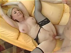nina hartley,  cumshot, glasses,