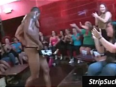 Black tattooed stripper gets cock wanked at party