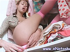 young, teen, stockings, dildo