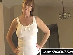 Nuvid - Pigtailed brunette shares this hard cock with her mom as they blow