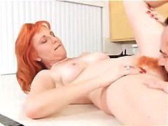 Sexy redhead MILF with fiery red hairy snatch gets banged
