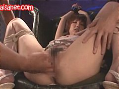 Asian babe gets tied u...