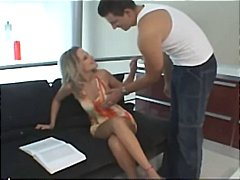 Hot erotic cock sucking with amateurs Gabi and Rick on the couch