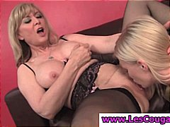 Two hot lesbians, one MILF and one te...