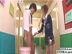 student, cfnm, schoolgirl, uniform, kissing, handjob