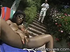 Ebony girl is sunbathing and wants so...