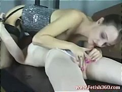 Two hot lesbians are sucking on titti...