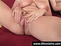 Busty brunette mom teaches her daught...