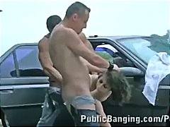 outdoor, high heels, mmf, group sex
