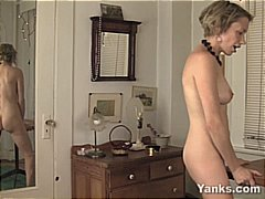 Nuvid - Horny blonde MILF gets naked and fucks her table until she cums