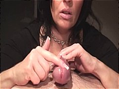 Brunette Klixen giving a demonstration on the hot spots on a cock