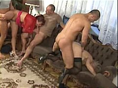A group of matures in an orgy with smoking pipes and banging pussy