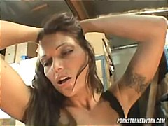 Horny brunette MILF, Anna Nova gets drilled in both her holes