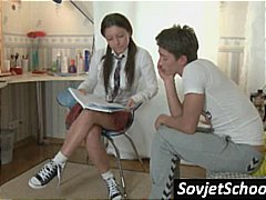 Sexy young brunette schoolgirl gives ...