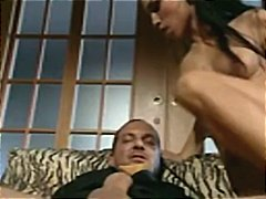 Brunette Historia sucks his big cock ...
