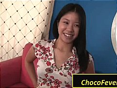 Horny Asian chick stri... video