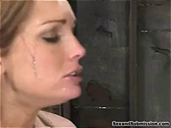 Chubby blonde slave gets strung up an...