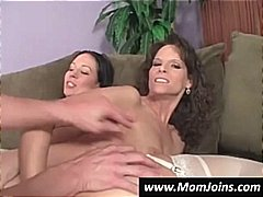 Nuvid - Sexy brunette mom and daughter share everything, even hard dicks