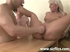 Sexy blonde MILF gets ... video