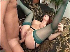 Busty redhead MILF gets her pussy and ass hammered by a hard cock
