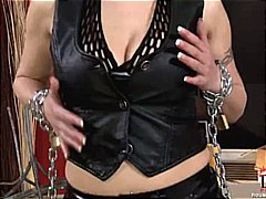 Angie masturbating with chains