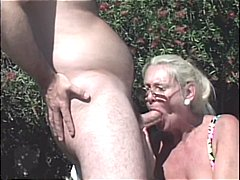 cumshot, outdoor, blonde, mature, blowjob, group sex, anal, granny, facial