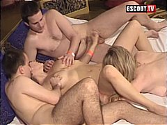 lick, group sex, oral, blowjob, blonde, cumshot