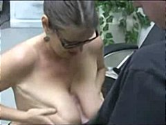 handjob, big tits, glasses