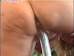 mature, blonde, masturbating, dildo