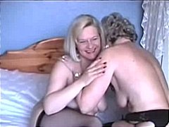 Two Grannies play in Lingerie and Sto...