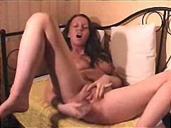 dildo, rubbing, toys, amateur, orgasm, masturbating, brunette, solo, couch, panties, webcam, fingering, pussy, natural boobs