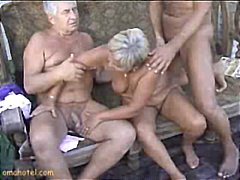 outdoor, mature, threesome, granny,