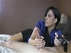 Thumb: Mom gives handjob to g...
