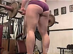 blonde, mature, gym,