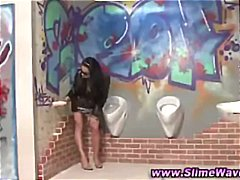Glory hole dick gets jerked off