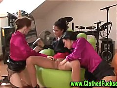 clothed, threesome,