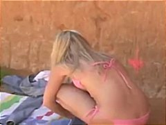 public, blonde, beach, masturbation,