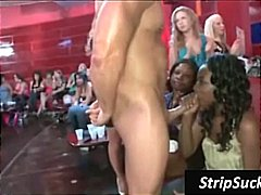 Ebony party slut gives this stripper a blowjob while other watch