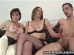 mature, british, stockings, threesome, cumshot, ffm