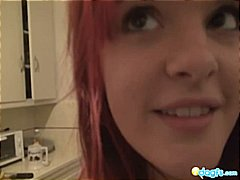 piercing, home made, redhead, kitchen