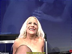 Blonde german milf in bukkake action