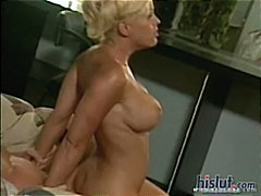 Busty blonde Tina Cherie sits on his face and gets fucked for load