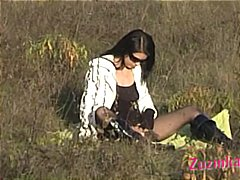 Exhibitionism in a field teased by my...