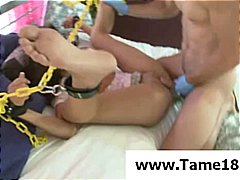 Naughty teenage cutie gets chained an...