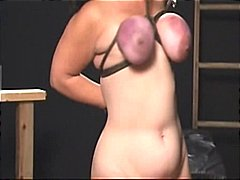 Chubby with big tits gets them tied u...