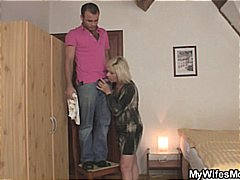 Blonde mom seduces her son in law and...