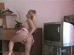 Blonde German teen fists her ass and ...