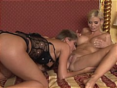 Kathy Lee and Nessa Devil take care of each other and a cock