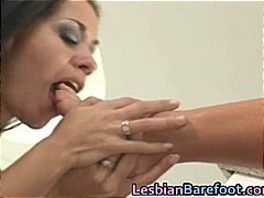Busty Lesbians are licking and dildoi...